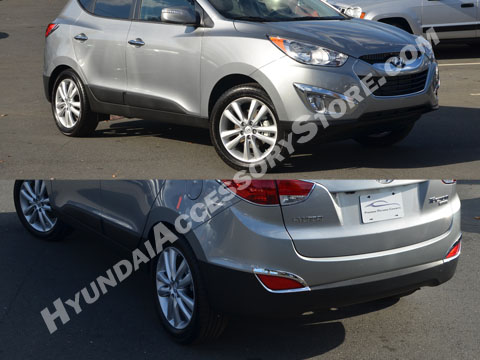 Hyundai Tucson Chrome Fog and Rear Deflector Bezels